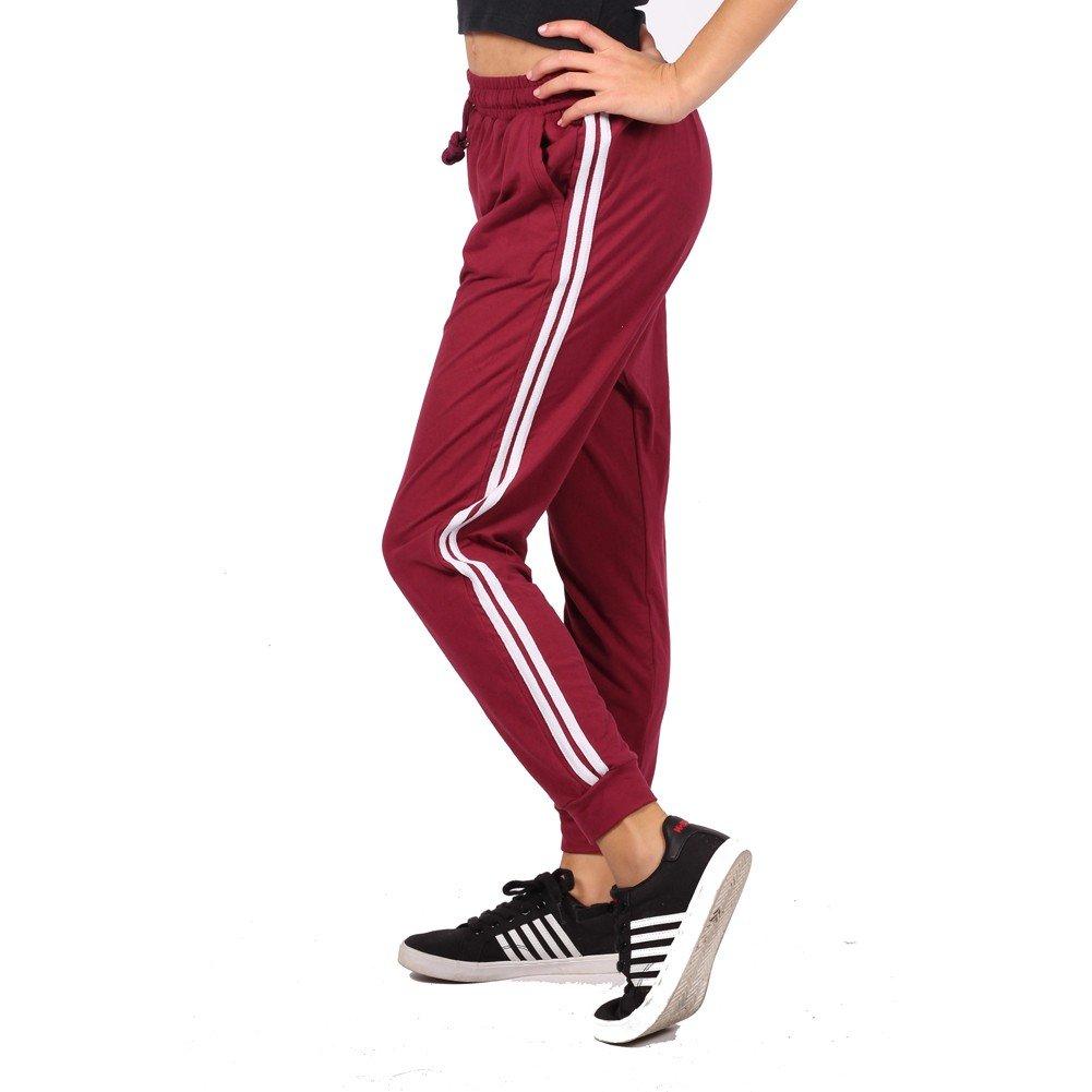 Lori&Jane Big Girls Burgundy Side Stripe Adjustable Waist Sweatpants 7