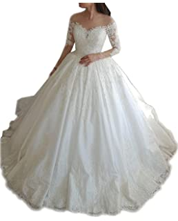 8fabad30d2 Mordarli Women s Lace Long Sleeve A Line Retro Puffy Princess Wedding  Dresses for Bride