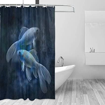 Image Unavailable Not Available For Color GOEPULY Two Fish Bathroom Curtain Fabric