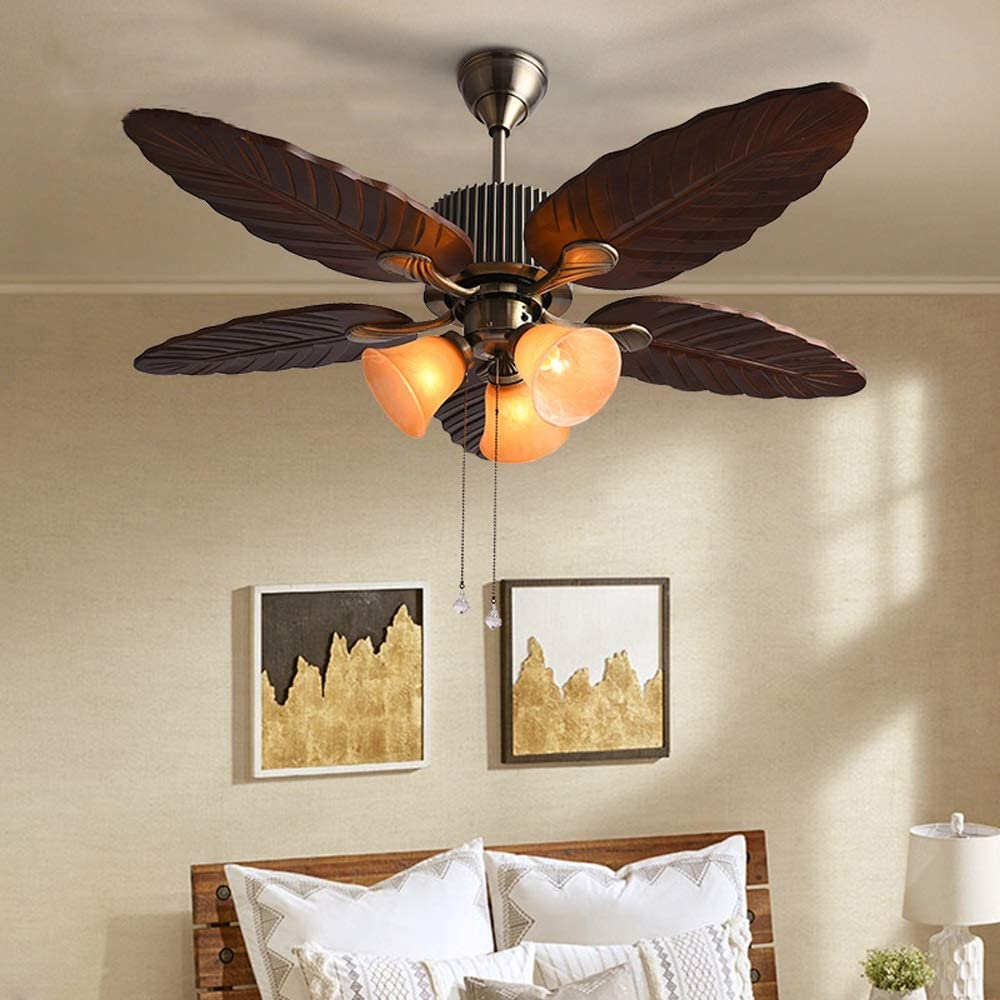 Ceiling Fan with Bowl Light 52 inches Palm Bronze Hand-Carved Wood Blades Leaf