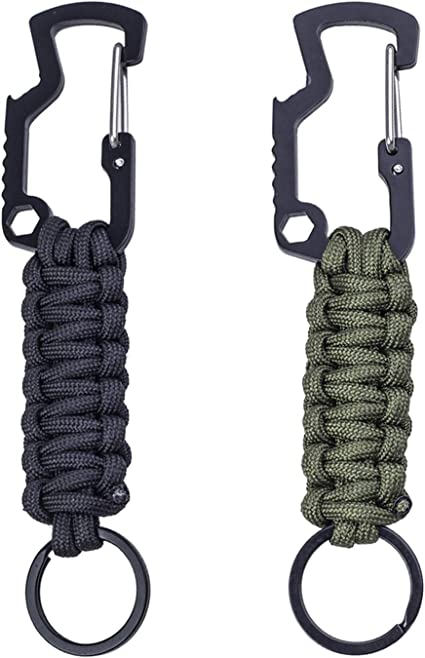 Handmade Paracord Carabiner Survival Keychain Lanyard with Bottle Opener