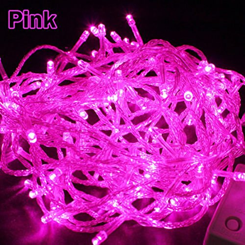 Indefectible Popular 8 Modes 30M 300 LED Nightlight Halloween Fairy Colorful Decoration Color Pink with US Plug 110V
