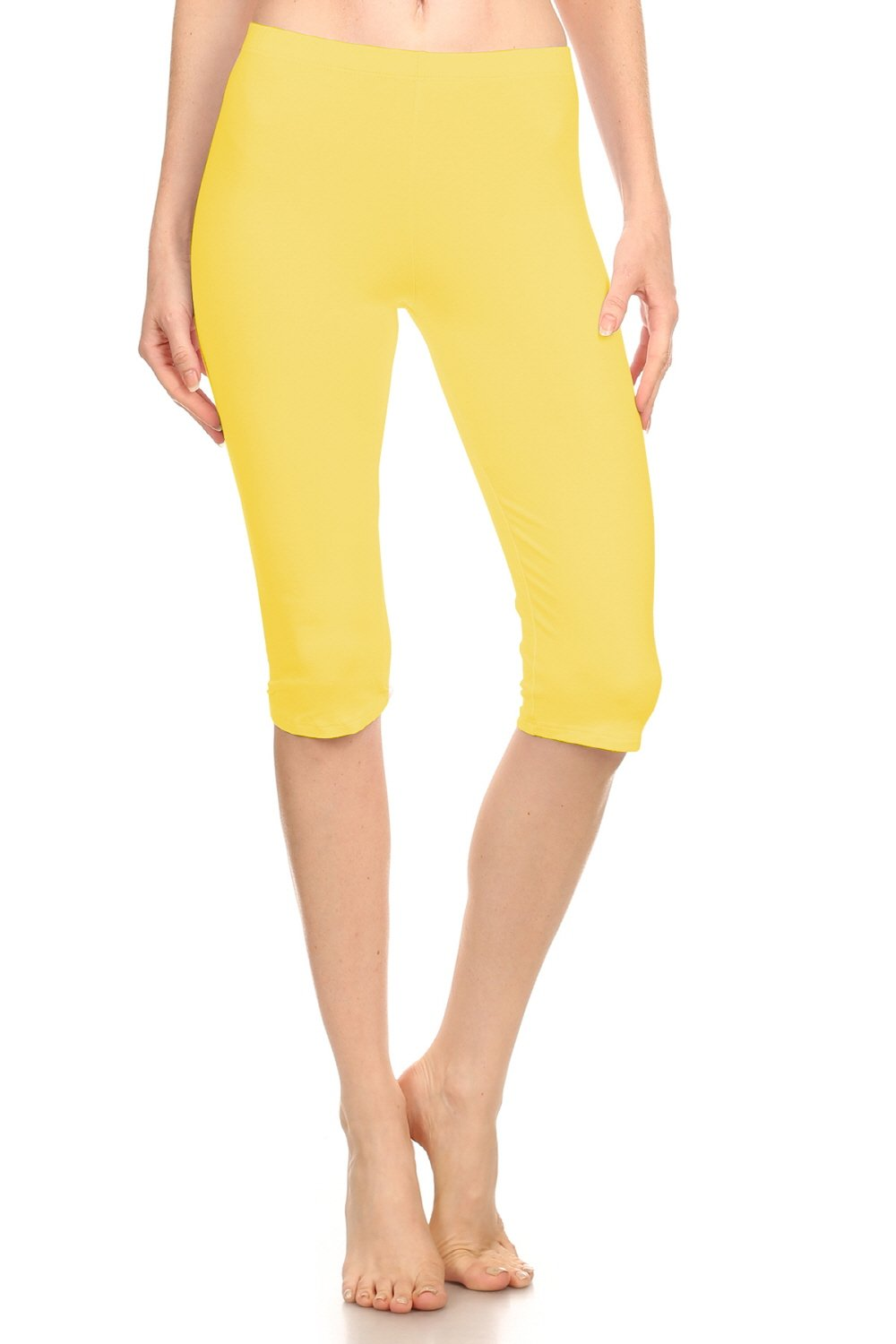 Stretch Cotton Bodysuit Women Soft Stretch Sports Yoga Skinny Capri Length Cotton-Spandex Leggings Tights (&Plus) (Small, Yellow_prime)