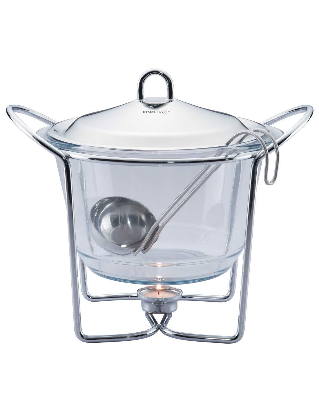 Speisew/ärmer Suppew/ärmer mit Glaseinsatz 4.0L Warmhaltebeh/älter 1 Kammer KiNGHOFF KH-1413