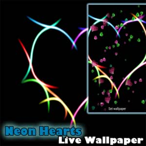 Amazon com: Live Wallpaper - Falling Neon Hearts Valentine's Day