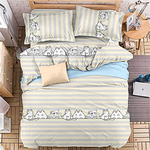 YeeKin New Arrival Bedding Sets 4pcs Cute Cartoon Printing Cats Quilt Cover  Pillowcase Flat Bed Sheet ?Twin Size