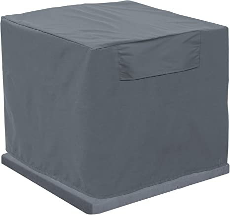 A//C Units Cover Patio Air Conditioner Covers for Outside Outdoor Waterproof Snow-Proof Elastic Bottom Window Units Vent Cover Square 34W 34D 30H in Gray