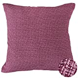 Deconovo Home Decorations Textured Cushion Cover Pillow Sham Faux Linen Pillow Cover Throw Pillowcase for Lounge 18x18 Inch Fuchsia and Pink Melange 1 Piece