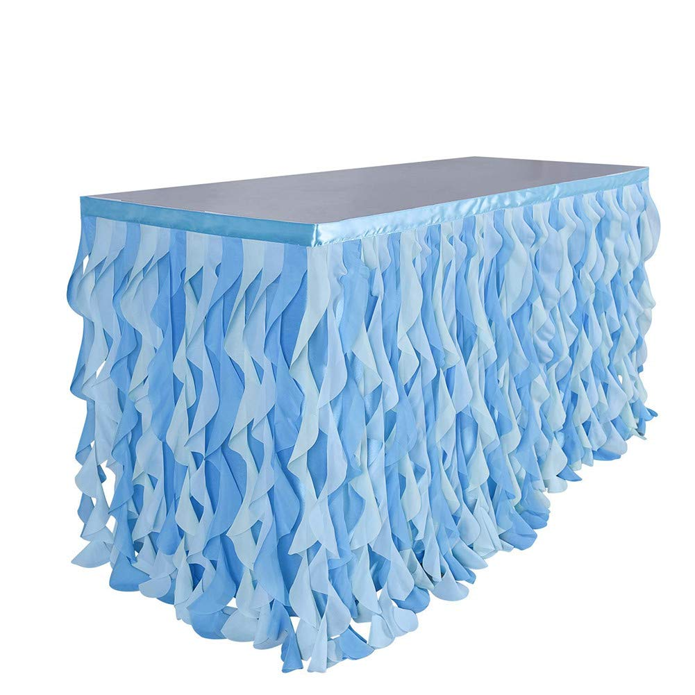 Adeeing 6ft Mixed Blue Tulle Table Skirt Tutu Ruffle Table Skirting Curly Willow Table Skirt for Rectangle or Round Table Baby Shower Birthday Wedding Party Banquet Decoration (L 72in, H 30in) by Adeeing