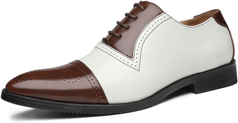 Zapatos Oxford para Hombre Patchwork Brogue Zapatos de Cuero con Punta Puntiaguda Transpirable Low-Top Lace-Up Antideslizante Zapatos Formales de Fondo Suave para Boda