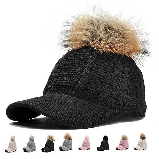 Knit Baseball Cap Hat - Winter Visor Billed Warm Soft Pom Poms Hats Caps  for Women bcdd8118f4a