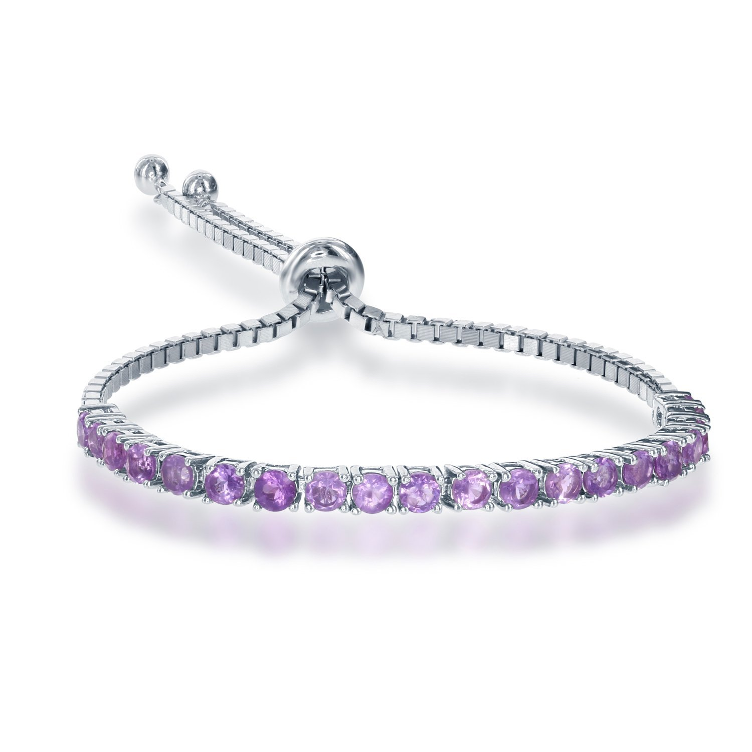 Sterling Silver Adjustable Tennis-Style 3mm Amethyst Gemstone Italian Bracelet