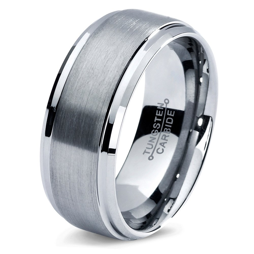 Tungsten Wedding Band Ring 8mm 6mm for Men Women Comfort Fit Grey Step Beveled Edge Brushed FREE Custom Laser Engraving Lifetime Guarantee