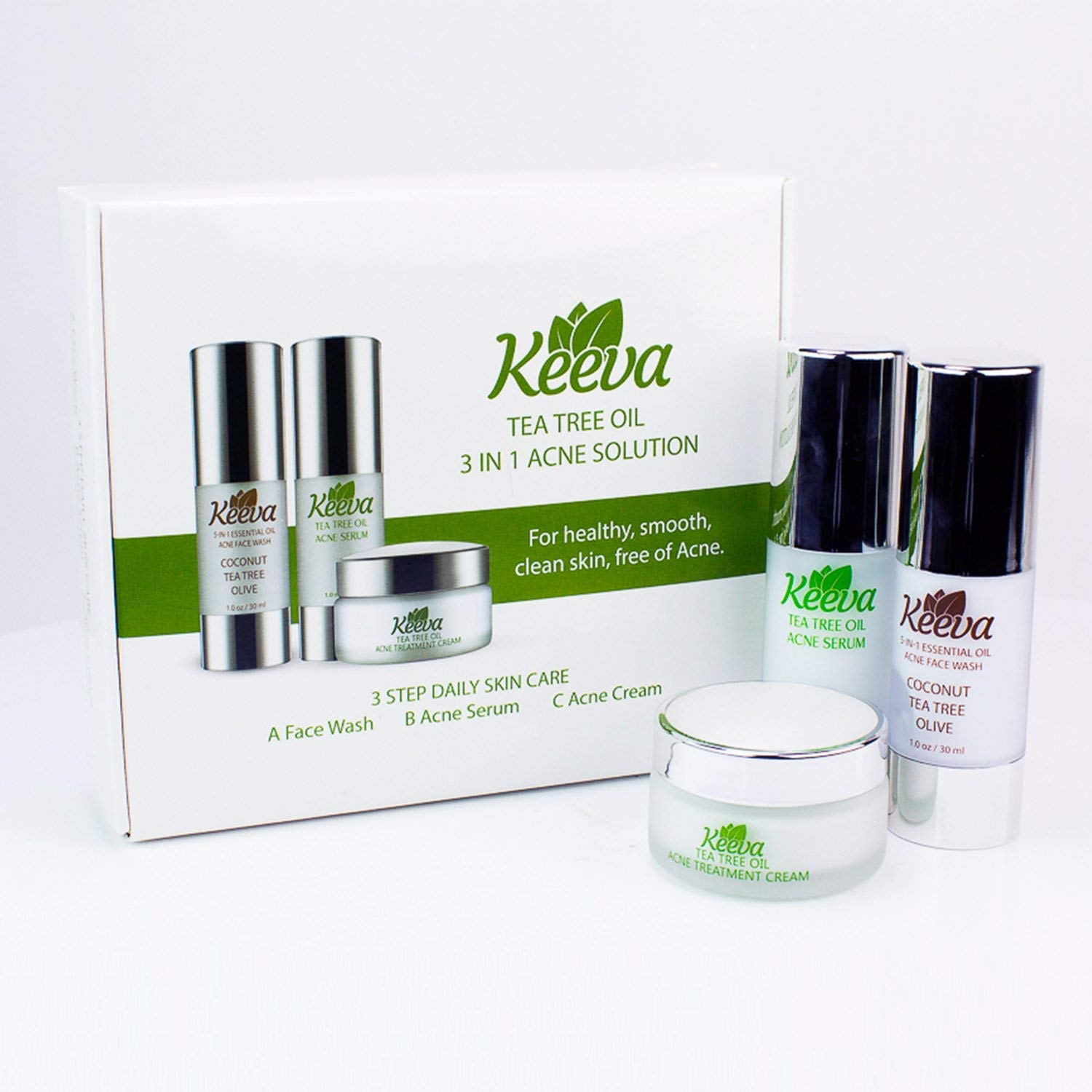 Get the Clear, Acne-FREE Skin You Deserve in Just 3 Days with Keeva's 7x Faster Organic Acne System. Includes Patented Acne Cream, Serum, Face Wash (3 in 1 Kit) by Keeva Organics