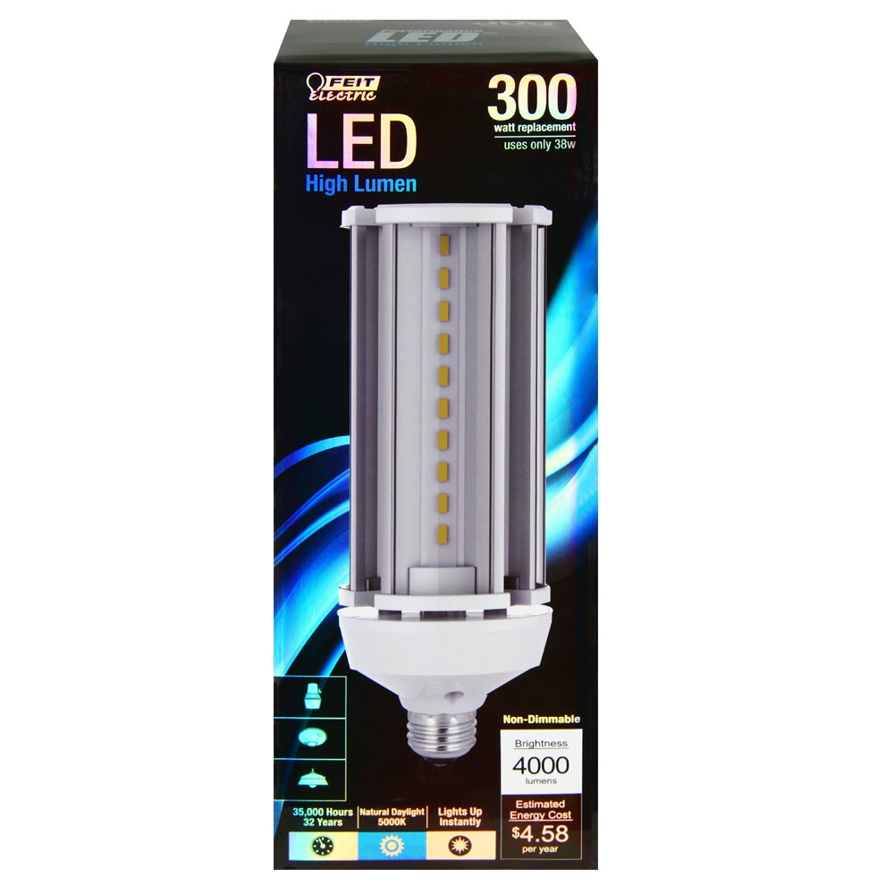 Feit electric high lumen specialty led 300w equivalent daylight feit electric high lumen specialty led 300w equivalent daylight 5000k yard or barn light bulb c40005kled amazon aloadofball Choice Image
