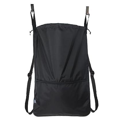 Luxja Bolsas para la colada, bolsa de ropa sucia, cesto de la ropa con ganchos para puerta y correas de hombro de acero inoxidable EXTRA, Negro