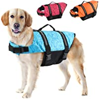 EMUST Dog Life Jackets, Reflective & Adjustable Preserver Vest with Enhanced Buoyancy & Rescue Handle for Swimming (XXS…