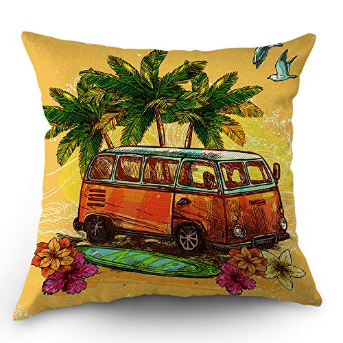 Moslion Beach Pillows Decorative Throw Pillow Cover Hippie Vintage Bus with Surfboard Holiday Ocean Pillow Case 18x18 Inch Cotton Linen Square Cushion Cover for Sofa Bedroom Yellow (Surfboard Pillows)