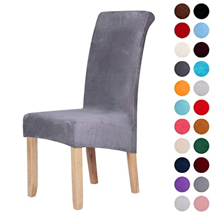 Phenomenal Velvet Stretch Dining Chair Slipcovers Spandex Plush Short Chair Covers Solid Large Dining Room Chair Protector Home Decor Set Of 2 Silver Grey Machost Co Dining Chair Design Ideas Machostcouk