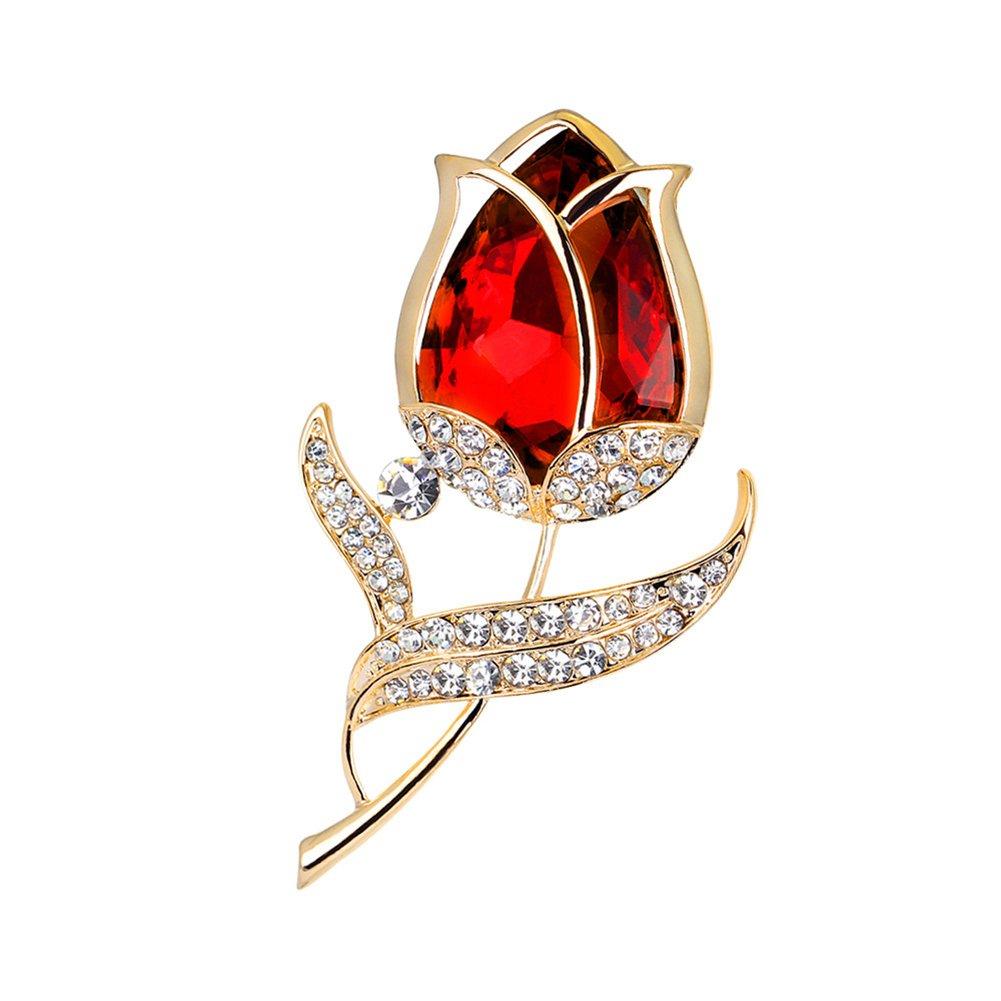 vintashion ZJ-AE035 Tulip Shape Brooch for Women-red