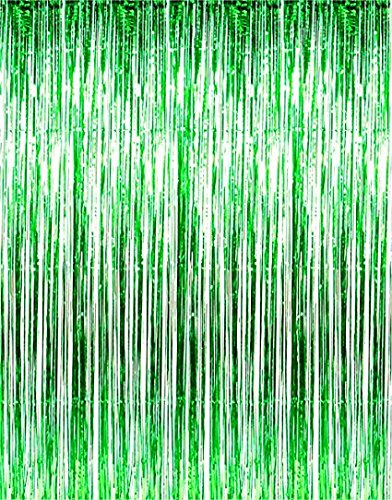 Blukey Green-Foil-Fringe-Curtain-3FTX8FT Metallic Tinsel Photo Booth Wedding Props Glitter Party Background Decorations -
