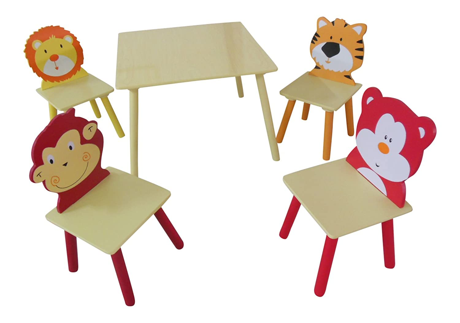 ANIMAL SAFARI THEMED CHILDRENS TABLE AND 4 CHAIRS SET: Amazon.co.uk:  Kitchen U0026 Home