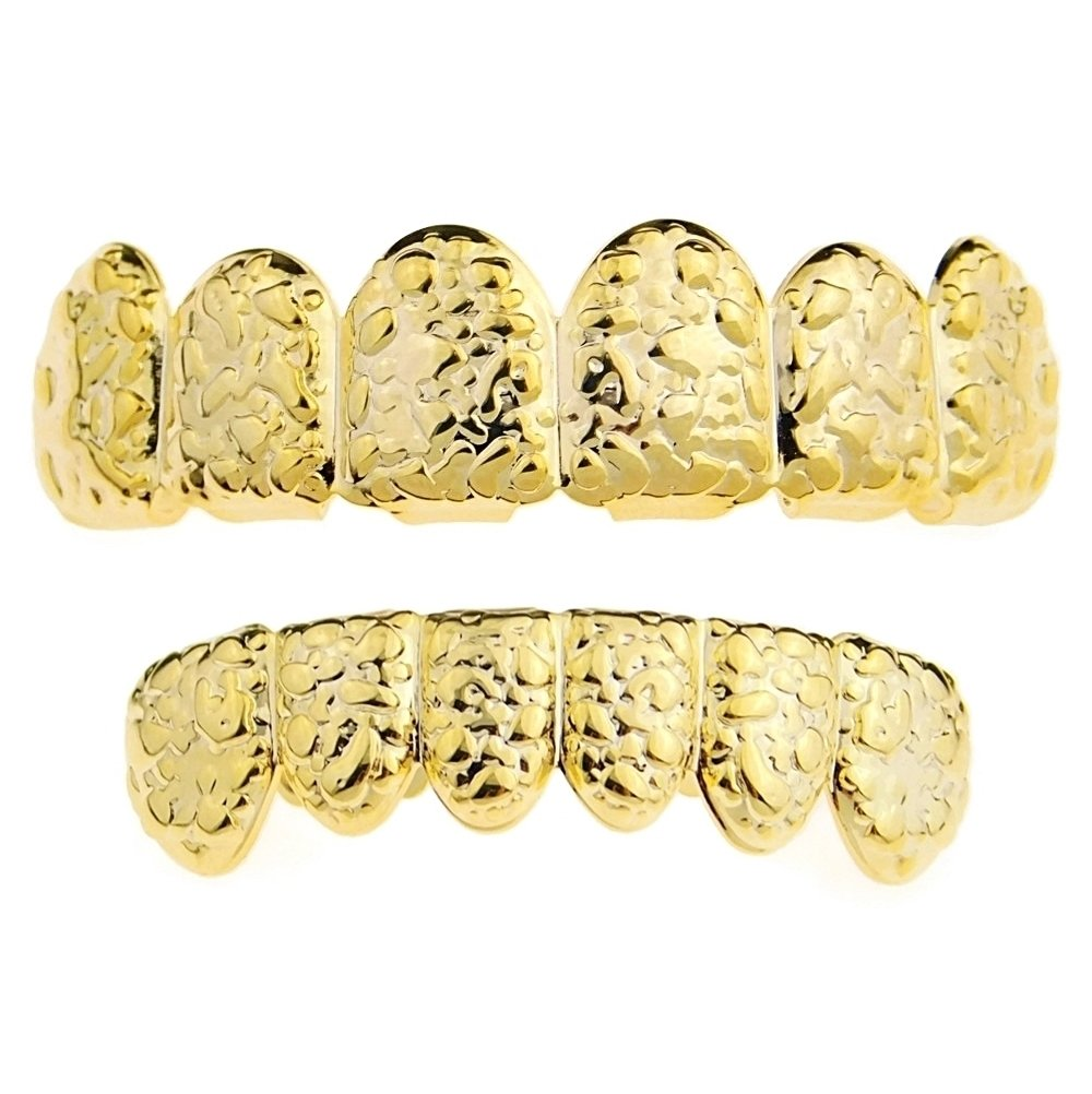 Nugget Grillz Set 14k Gold Plated Top & Bottom Teeth 12 PC Slugs Hip Hop Mouth Grills by Best Grillz