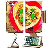 Luxlady Premium Apple iPhone 7 Plus Flip Pu Leather Wallet Case iPhone7 PLUS IMAGE ID 25639700 Delicious italian pizza served on wooden table offers