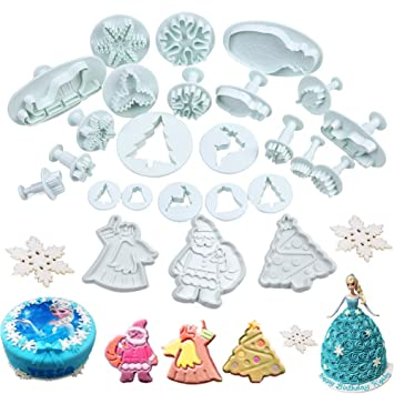 22Pcs//Set Christmas Cookie Cutters Biscuit Fondant Plunger Cake Decor Mold Mould