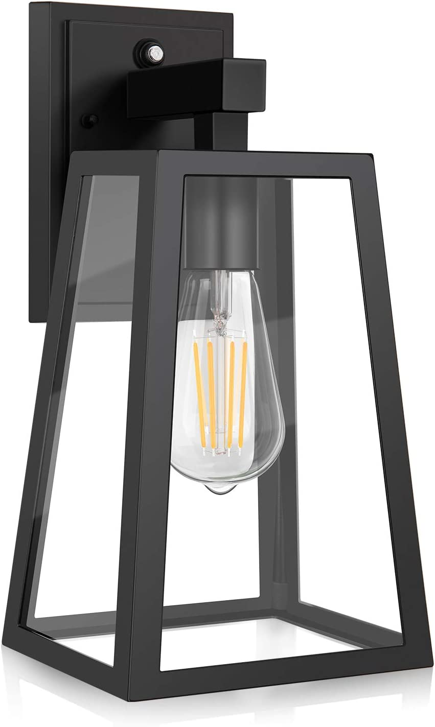 Dusk To Dawn Outdoor Wall Lantern Exterior Wall Sconce Fixture With E26 Base Led Bulb Anti Rust Waterproof Matte Black Wall Lamp Clear Glass For Garage Doorway Porch Garden Courtyard