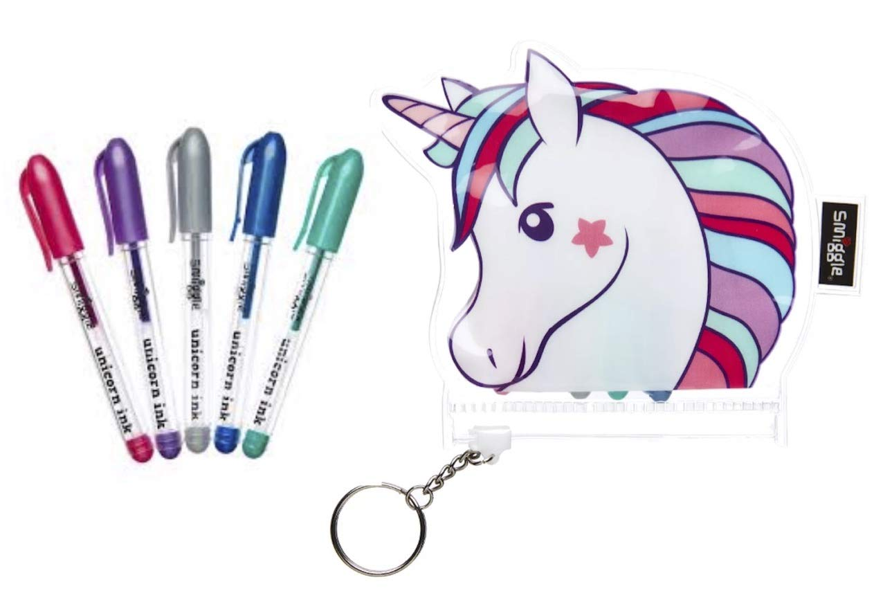 Smiggle Scented Mini Gel Pens Unicorn Character Zip-Lock Pouch x5 Pack