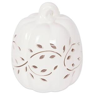 DII Tall White Leaves Lantern, Pumpkin Vines