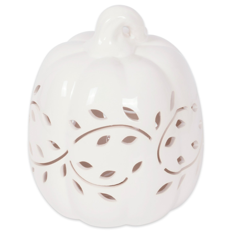 DII Halloween & Fall White Pumkpin Decorative Tealight Ceramic LED Lantern Ideal for Indoor Home Decor, Outdoor Lighting, Farmhouse, Vine Leaves Design