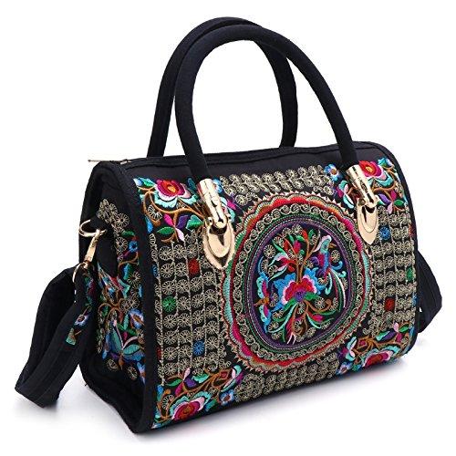 JAGENIE Bag Embroidered Canvas Boho Floral 1 Tote Ethnic Handbag Women Zipper Shopping 2 rqXvYEr