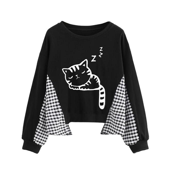 Longra Pullover Damen Sweatshirt pullis Damen Pet Kitty