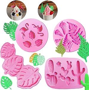 4 Pack Cake Fondant Molds Tropical Leaf Cactus Flamingo Theme, MOTASOM Silicone Fondant Chocolate Gummy Candy Baking Mold DIY Tool for Polymer Clay Cupcakes Resin Sugarcraft Cake Decoration