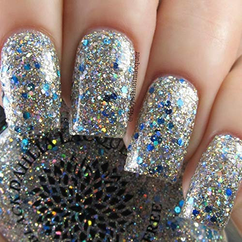 Sparkle Lacquer - Woke Up on 6th Street | Full Coverage Gold & Silver Glitter Nail Polish with Blue Accent Glitter | by Black Dahlia Lacquer