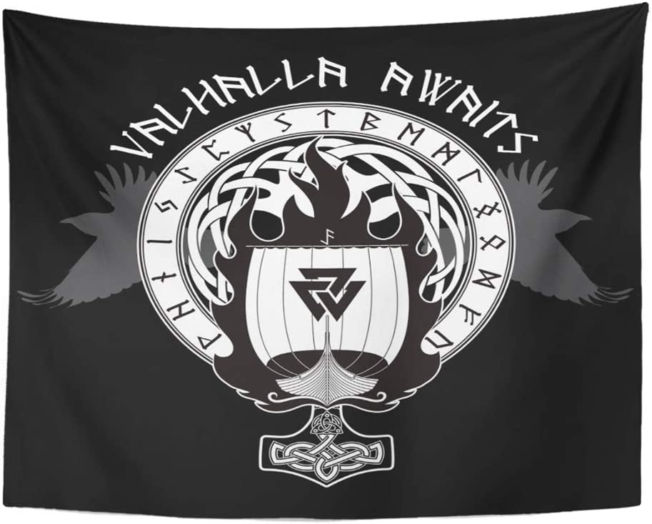 """Emvency 60""""x80"""" Indian Tapestry Mandala Hippie Wall hangings Blue Boat Warship of The Vikings Drakkar On Fire and Norse Runes Black Warrior Flag Home Decor Tapestries for Bedroom"""