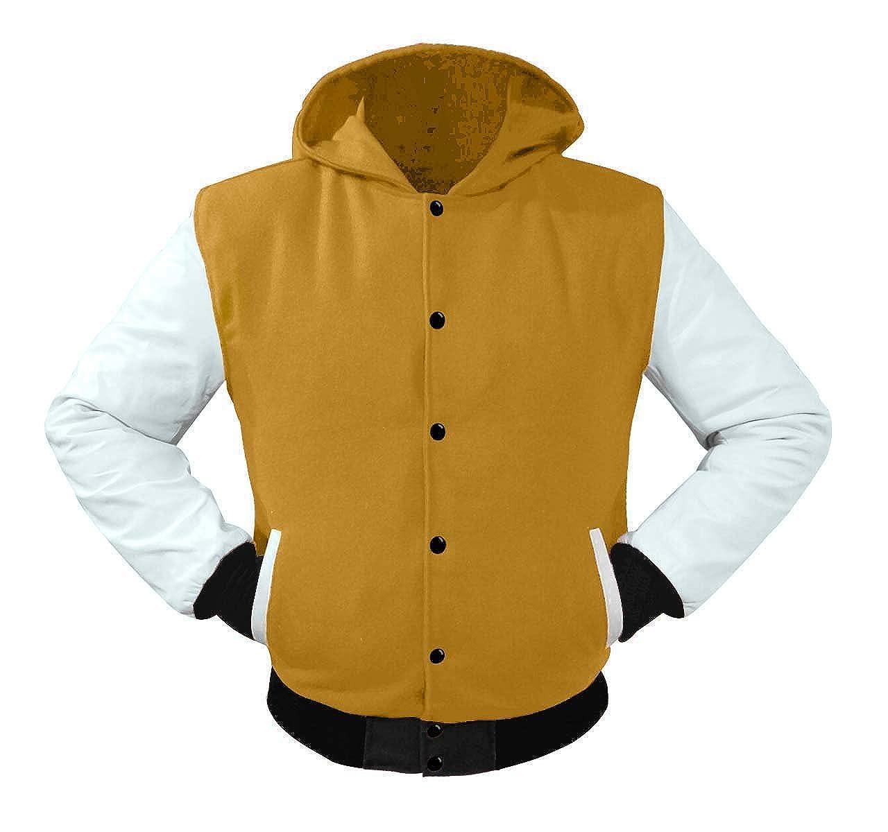 luvsecretlingerie Superb Leather Sleeve Original American Varsity Letterman College Baseball Kid Wool Hoodie Jackets #BWB