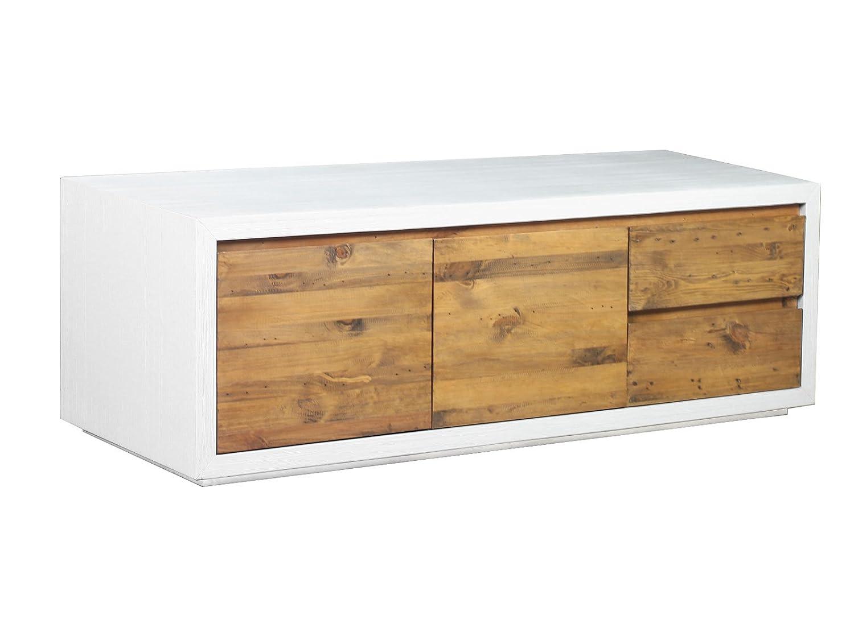 Woodkings® TV Bank Burnham, Lowboard aus recyceltem Pinien Holz rustikal, Korpus MDF Weiss, TV-Regal, TV Unterschrank, TV Board, Fernsehbank, Fernsehtisch, Loft & Wohnzimmer Möbel