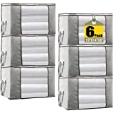 JERIA 6-Pack Grey Foldable Closet Organizer Clothing Storage Bags with Clear Window, Reinforced Handle and Sturdy Zipper (Siz