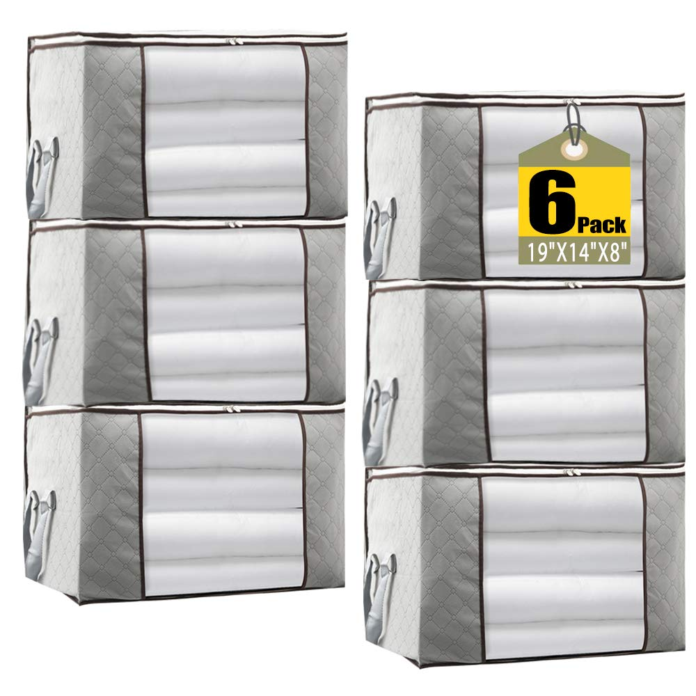 "JERIA 6-Pack Grey Foldable Closet Organizer Clothing Storage Bags with Clear Window, Reinforced Handle and Sturdy Zipper (Size: 19"" L X 14"" W X 8"" H)"