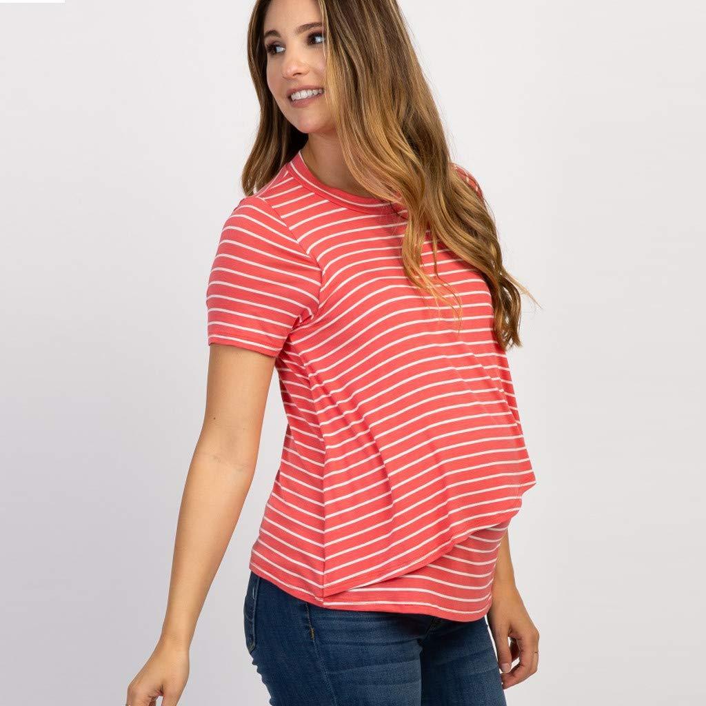 Mitlfuny Para Mujer Camiseta Premam y de Lactancia Cintura Imperio Mujeres Embarazadas Nusring Maternidad O-Cuello Tops de Manga Corta Raya Ropa Blusa