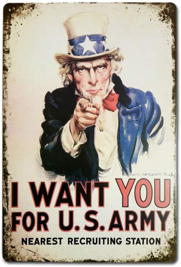 Army Vintage Plaque Affiche /Étain M/étal Mur Signe R/étro D/écoration pour Bar Caf/é Garage Gaz Station Accueil Club Shunry I Want You for U.S