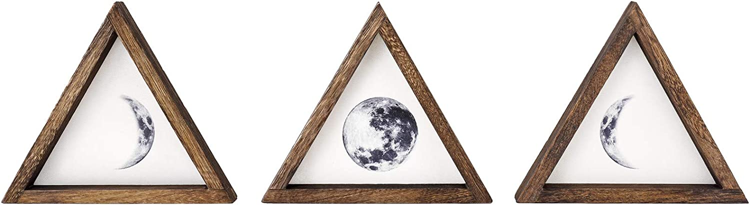 Dahey Rustic Wall Moon Phases Decor Wood Moon Signs Framed Wooden Modern Art Trio Wall Pediments for Apartment Bedroom Living Room Gallery Set of 3,White