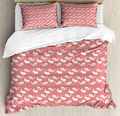 LALADecor Whale 4 Pieces Duvet Cover Full Bedding Set (1 Duvet Cover+1 Flat Sheet+2 Pillow Shams) Cute Baby Whales with Stars on Pink Backdrop Cheerful Sea Life Pattern for Kids Coral White Teal