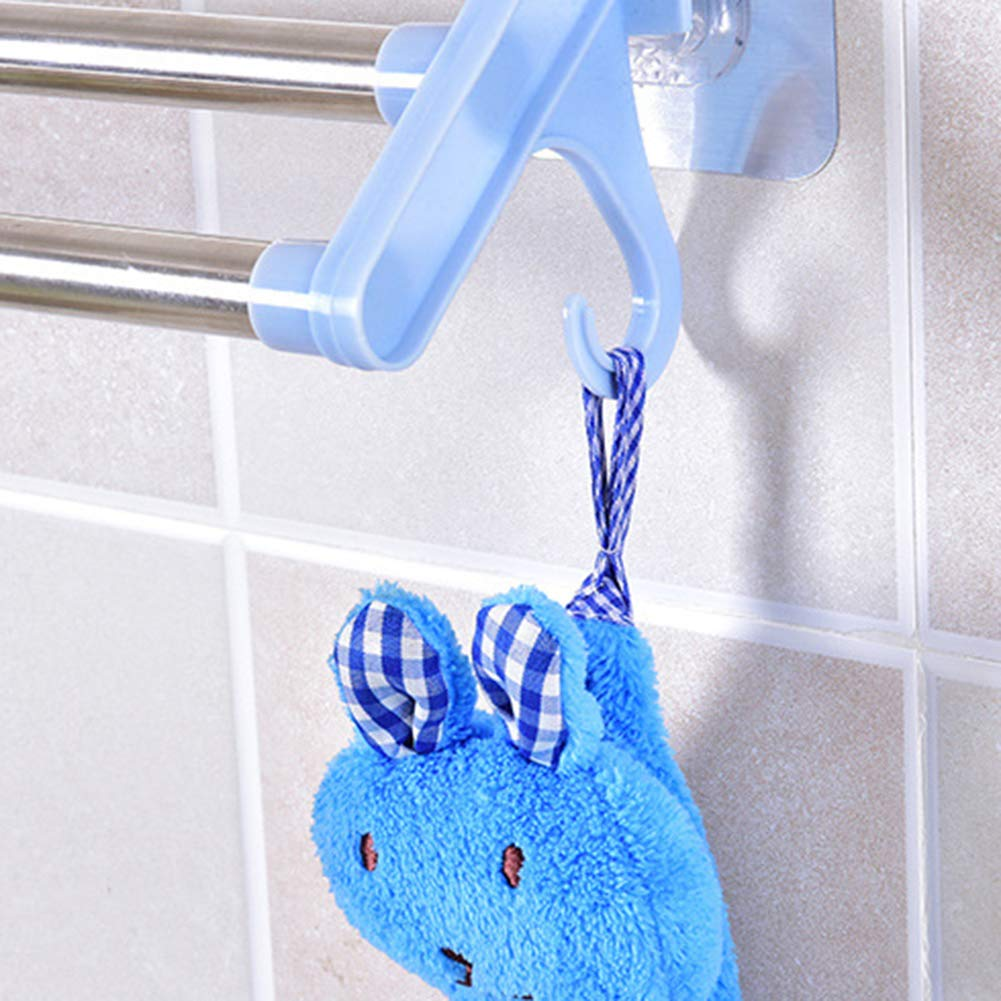 Brussels08 Suction Cup Double Pole Towel Bar Wall Mounted Towel Cabinet Rack Rail Bathroom Shelf Shower Mat Rod Shower No Drill Removable Door Adhesive Bath Towel Hanger Holder Blue