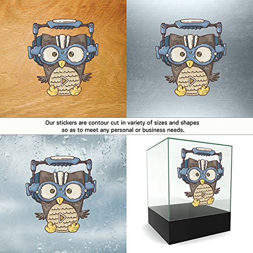 Vinyl Stickers Decals Space Owl Garage home window silhouette visitor season watch (18 X 16,4 Inches) Fully Waterproof Printed vinyl sticker