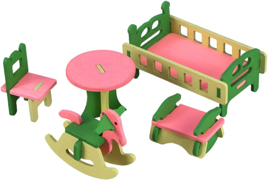 TOYANDONA Wooden Dollhouse Furniture Kit Mini Baby Crib Table Chair Rocking Horse Bed 5 Pieces