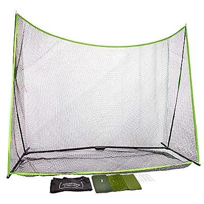 albatross Golf Practice Net 10' x 7' x 3' and 3 Surface Hitting Mat Bundle